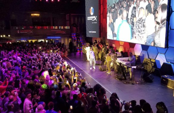 Fans dance to reggae music at Busy Signal concert in Luxor, Las Vegas